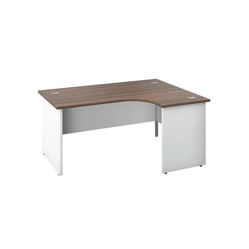 Jemini Right Hand Radial Panel End Desk 1600x1200mm Dark Walnut/White KF805472