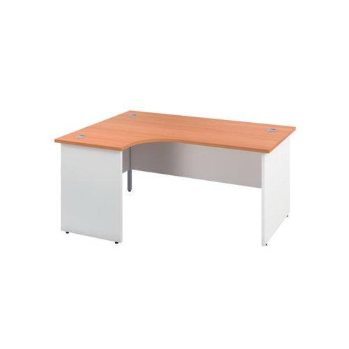 Jemini Left Hand Radial Panel End Desk 1800x1200mm Beech/White KF805489