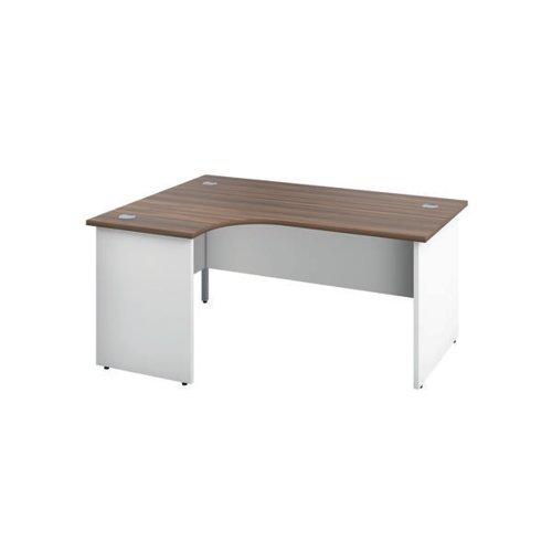 Jemini Left Hand Radial Panel End Desk 1800x1200mm Dark Walnut/White KF805533