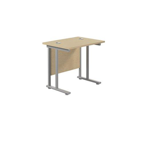 Jemini Double Upright Rectangular Desk 800x600mm Maple/Silver KF806127