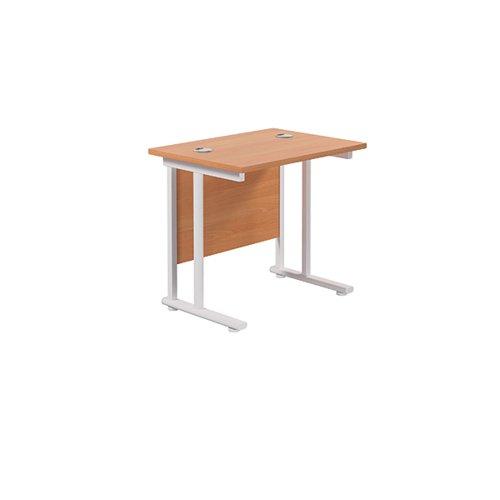 Jemini Cantilever Rectangular Desk 800x600mm Beech/White KF806141
