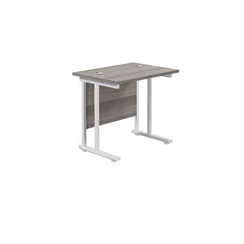 Jemini Rectangular Cantilever Desk 800x600x730mm Grey Oak/White KF806158