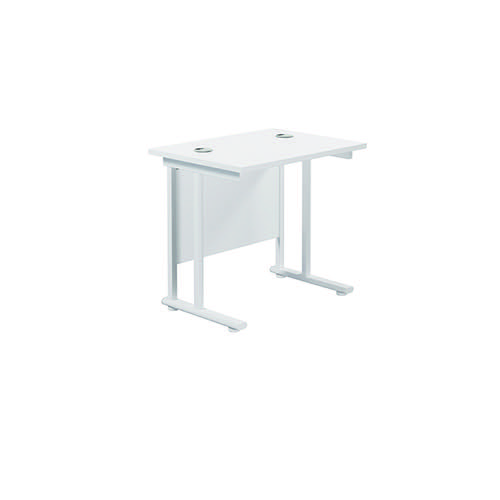 Jemini Cantilever Rectangular Desk 800x600mm White/White KF806172