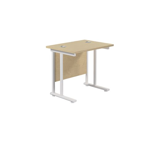 Jemini Cantilever Rectangular Desk 800x600mm Maple/White KF806189