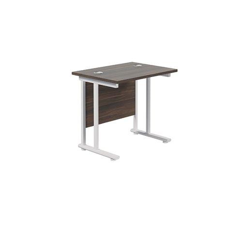 Jemini Cantilever Rectangular Desk 800x600 Dark Walnut/White KF806196