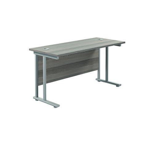 Jemini Cantilever Rectangular Desk 1200x600mm Grey Oak/Silver KF806219