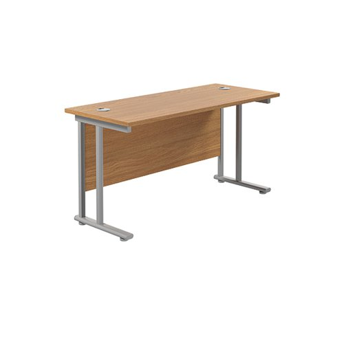 Jemini Cantilever Rectangular Desk 1200x600mm Nova Oak/Silver KF806226