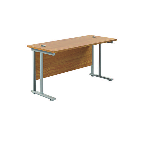 Jemini Rectangular Cantilever Desk 1200x600x730mm Nova Oak/Silver KF806226