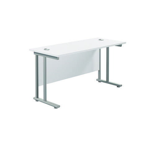 Jemini Cantilever Rectangular Desk 1200x600mm White/Silver KF806233