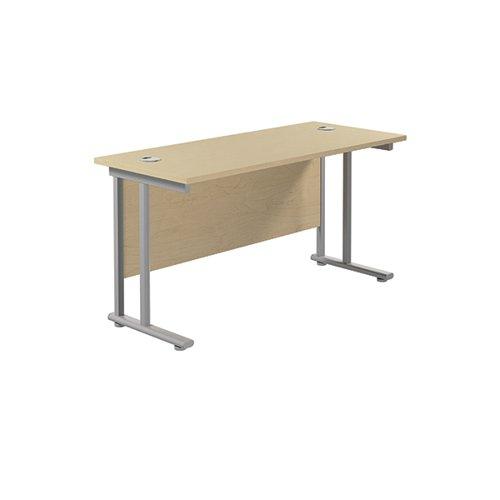 Jemini Rectangular Cantilever Desk 1200x600x730mm Maple/Silver KF806240