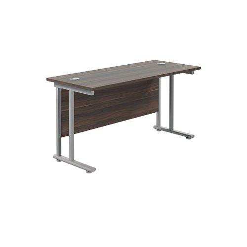 Jemini Cantilever Rectangular Desk 1200x600 DarkWalnut/Silver KF806257