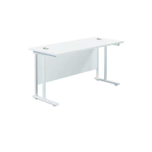 Jemini Cantilever Rectangular Desk 1200x600mm White/White KF806295