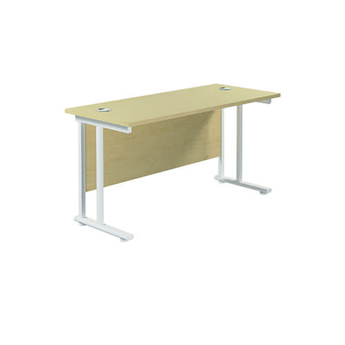 Jemini Cantilever Rectangular Desk 1200x600mm Maple/White KF806301