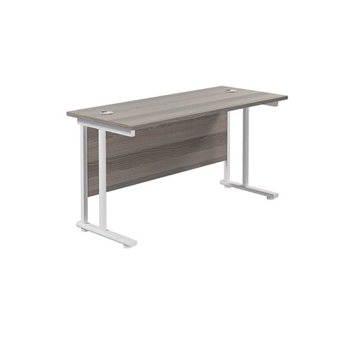 Jemini Cantilever Rectangular Desk 1400x600mm Grey Oak/White KF806394