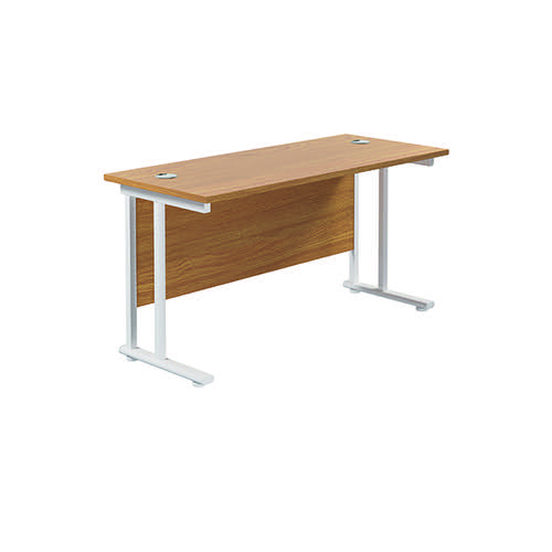 Jemini Cantilever Rectangular Desk 1400x600mm Nova Oak/White KF806400