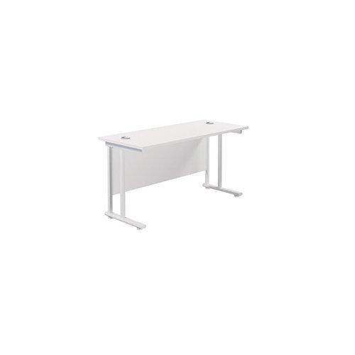 Jemini Cantilever Rectangular Desk 1400x600mm White/White KF806417