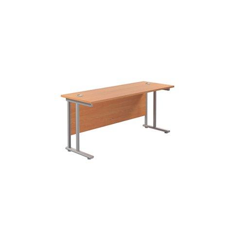 Jemini Rectangular Cantilever Desk 1600x600x730mm Beech/Silver KF806448