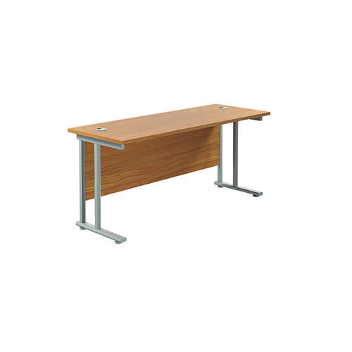 Jemini Cantilever Rectangular Desk 1600x600mm Nova Oak/Silver KF806462