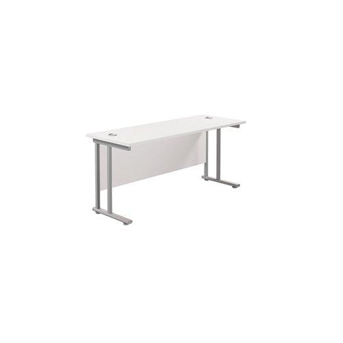 Jemini Rectangular Cantilever Desk 1600x600x730mm White/Silver KF806479