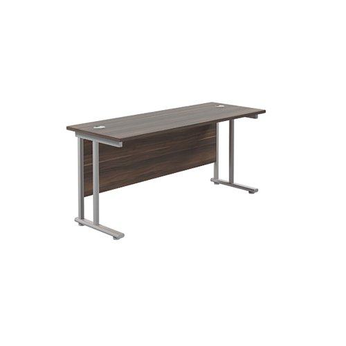 Jemini Cantilever Rectangular Desk 1600x600 DarkWalnut/Silver KF806493