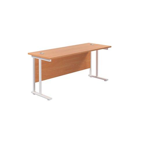 Jemini Cantilever Rectangular Desk 1600x600mm Beech/White KF806509