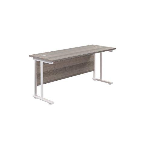 Jemini Rectangular Cantilever Desk 1600x600x730mm Grey Oak/White KF806516