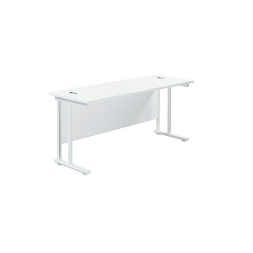 Jemini Rectangular Cantilever Desk 1600x600x730mm White/White KF806530