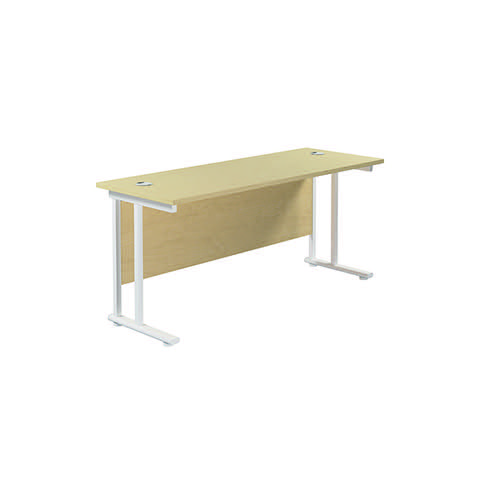 Jemini Cantilever Rectangular Desk 1600x600mm Maple/White KF806547