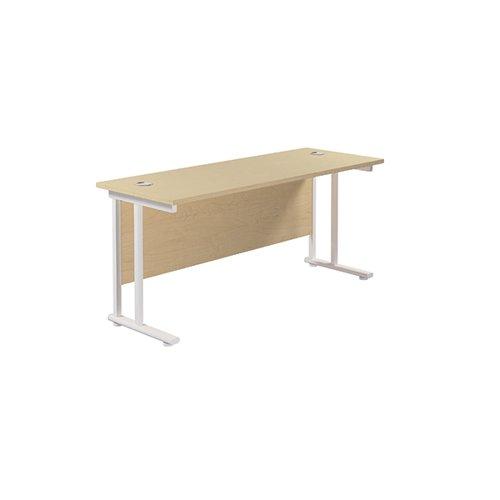 Jemini Cantilever Rectangular Desk 1600x600mm Maple/White KF806547