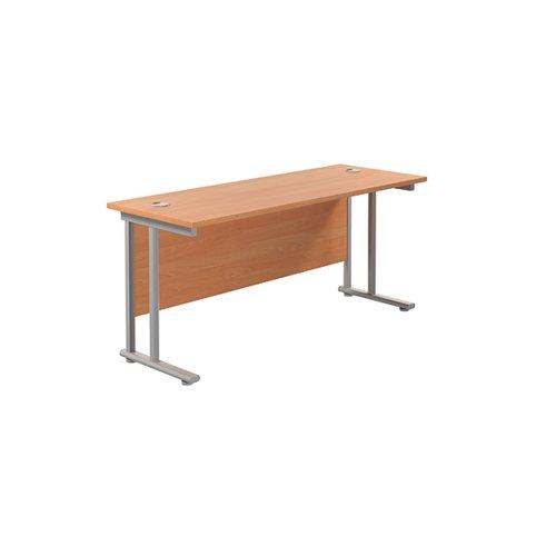 Jemini Rectangular Cantilever Desk 1800x600x730mm Beech/Silver KF806561