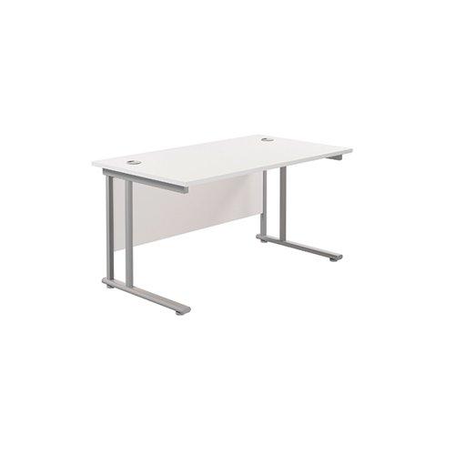 Jemini Cantilever Rectangular Desk 1200x800mm White/Silver KF806837