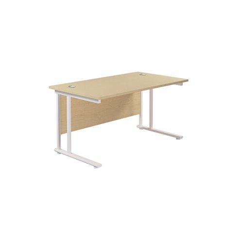 Jemini Cantilever Rectangular Desk 1200x800mm Maple/White KF806905