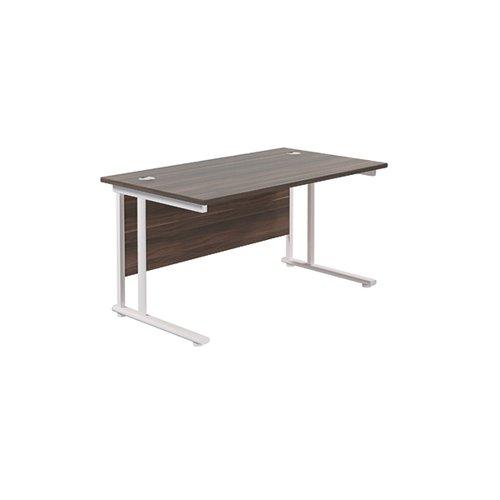 Jemini Rectangular Cantilever Desk 1200x800x730mm Dark Walnut/White KF806912