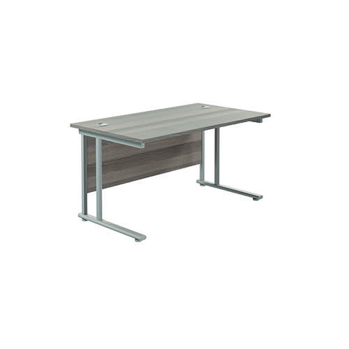 Jemini Cantilever Rectangular Desk 1400x800mm Grey Oak/Silver KF806936