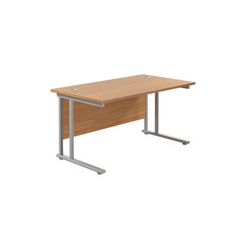 Jemini Cantilever Rectangular Desk 1400x800mm Nova Oak/Silver KF806943
