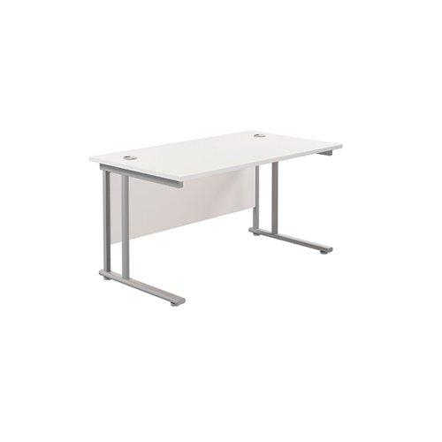 Jemini Rectangular Cantilever Desk 1400x800x730mm White/Silver KF806950