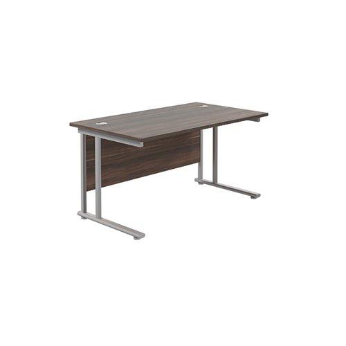 Jemini Rectangular Cantilever Desk 1400x800 Dark Walnut/Silver KF806974