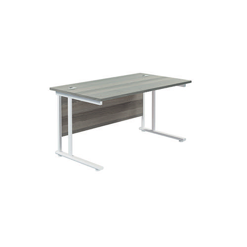Jemini Cantilever Rectangular Desk 1400x800mm Grey Oak/White KF806998