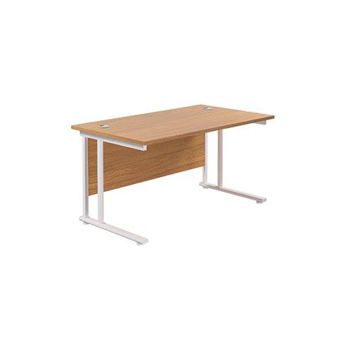 Jemini Rectangular Cantilever Desk 1400x800x730mm Nova Oak/White KF807001