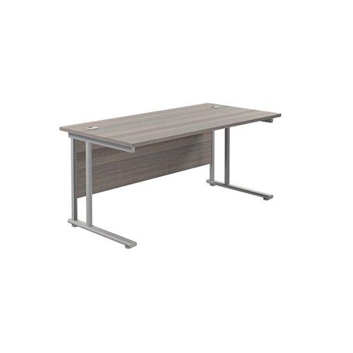Jemini Cantilever Rectangular Desk 1600x800mm Grey Oak/Silver KF807056