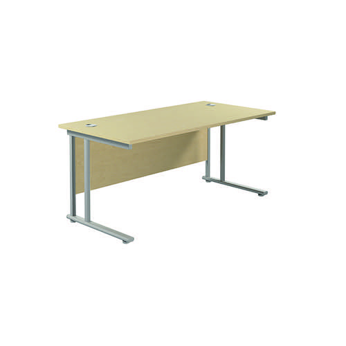 Jemini Cantilever Rectangular Desk 1600x800mm Maple/Silver KF807087