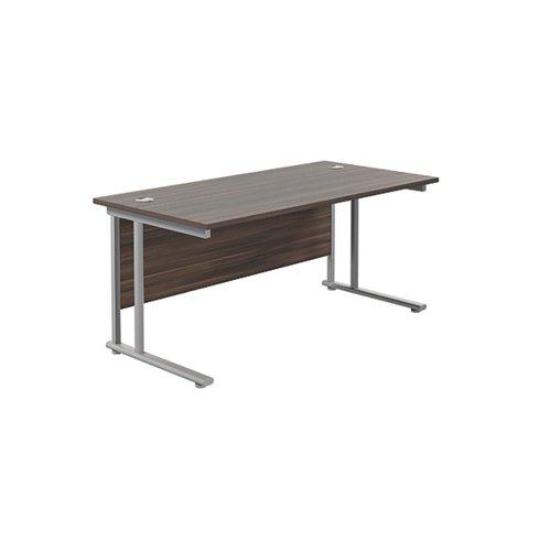 Jemini Cantilever Rectangular Desk 1600x800 DarkWalnut/Silver KF807094