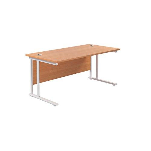 Jemini Cantilever Rectangular Desk 1600x800mm Beech/White KF807100
