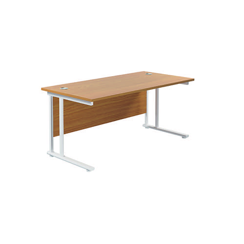 Jemini Cantilever Rectangular Desk 1800x800mm Nova Oak/White KF807247