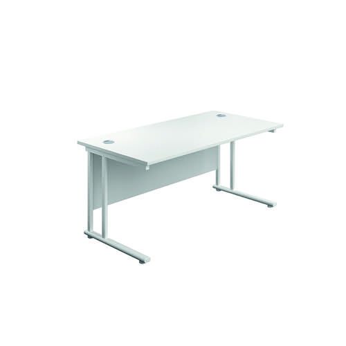 Jemini Cantilever Rectangular Desk 1800x800mm White/White KF807254