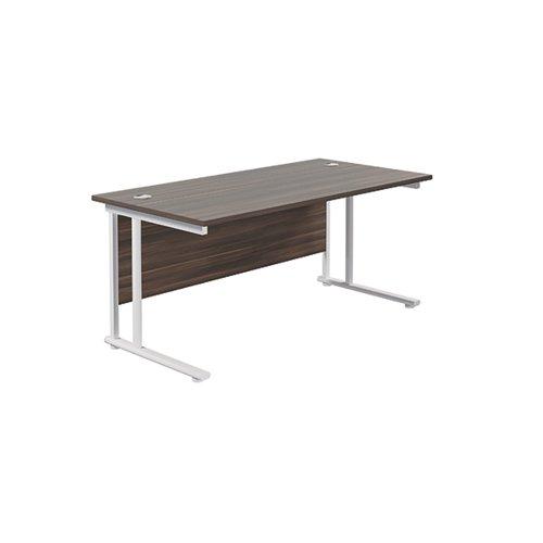 Jemini Rectangular Cantilever Desk 1800x800x730mm Dark Walnut/White KF807278