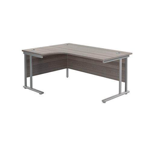 Jemini Cantilever Left Hand Radial Desk 1600 Grey Oak/Silver KF807537