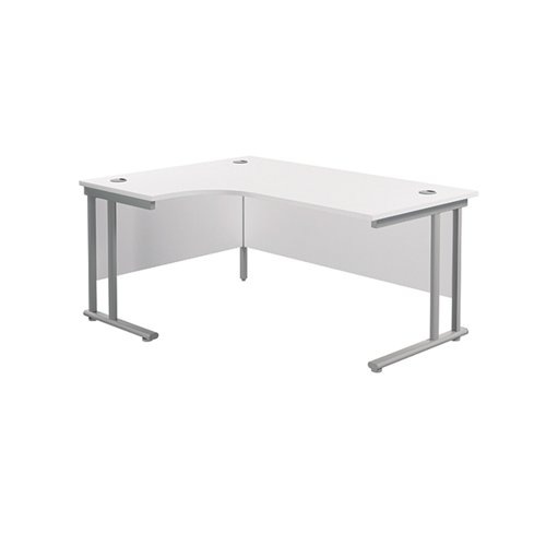 Jemini Cantilever Left Hand Radial Desk 1600mm White/Silver KF807551