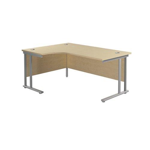 Jemini Radial Left Hand Cantilever Desk 1600x1200x730mm Maple/Silver KF807568