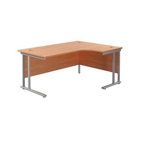 Jemini Cantilever Right Hand Radial Desk 1600mm Beech/Silver KF807582